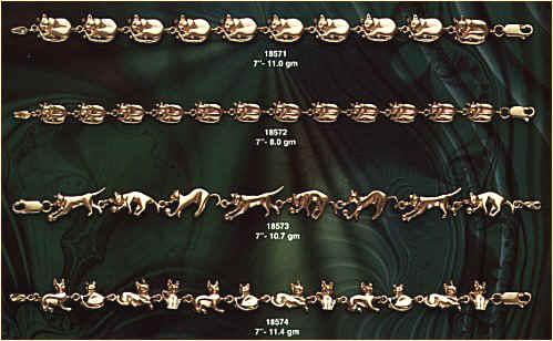 GOLD BRACELETS 14K gold cat bracelets cat jewelry